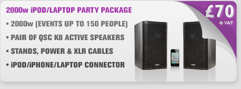 2000w QSC K8 Smart Phone/Tablet/Laptop Speaker Package With Cables & Stands