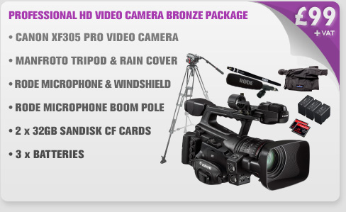 Canon XF305 Professional HD Video Camera Bronze Package