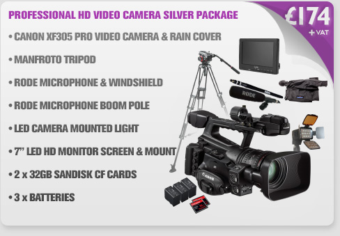 Canon XF305 Professional HD Video Camera Silver Package