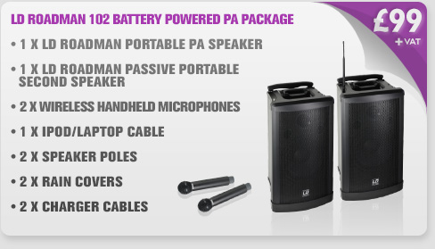 LD Roadman 102 Battery Powered Portable PA Package